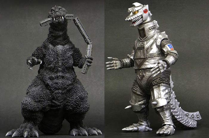 X-Plus 30cm Series Godzilla 1954 Train Biter and Mechagodzilla 1975 vinyl figures.