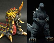 X-Plus Battra Larva and Yuji Sakai Godzilla 1992 vinyl figures.
