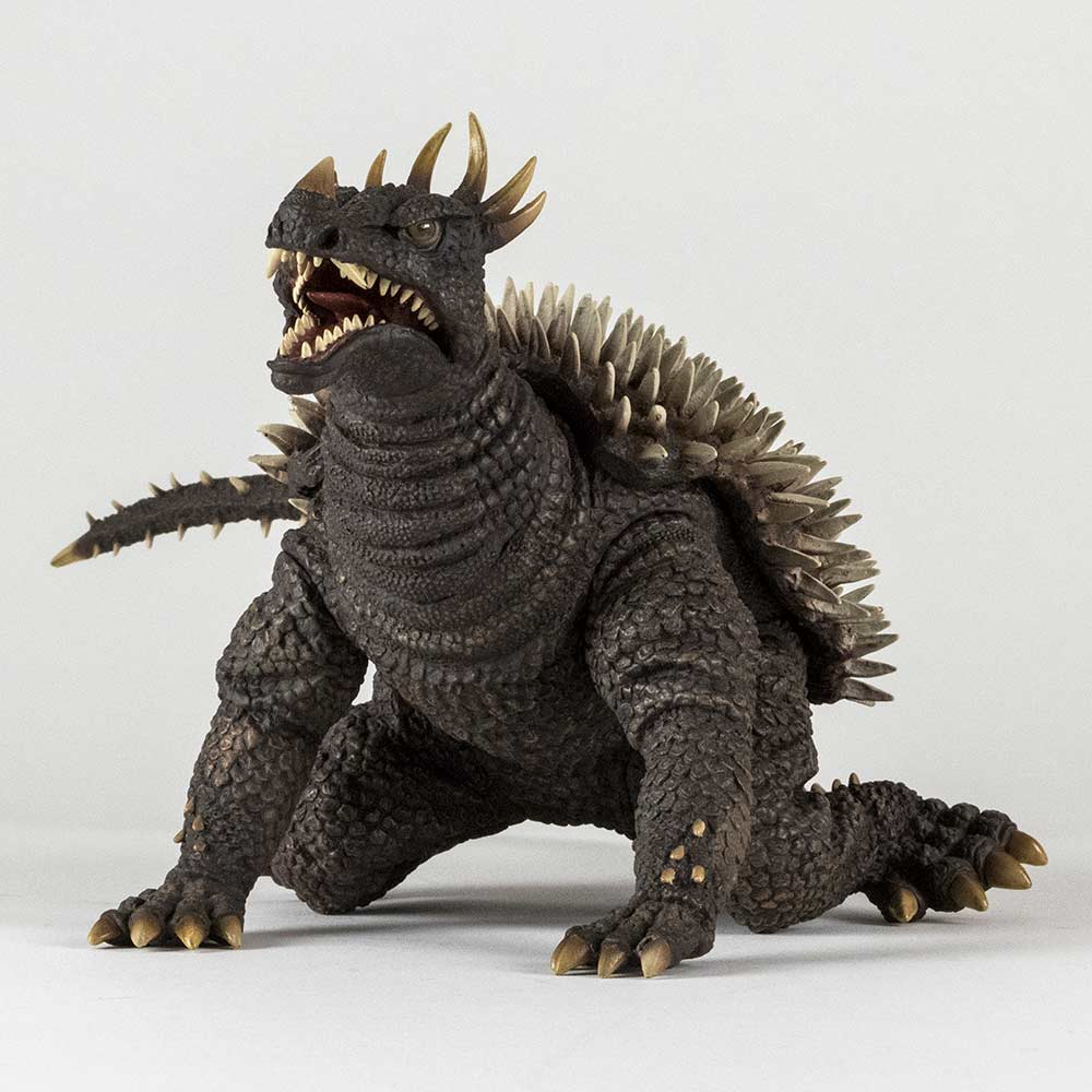 Forward 3/4 view of the X-Plus Anguirus vinyl.