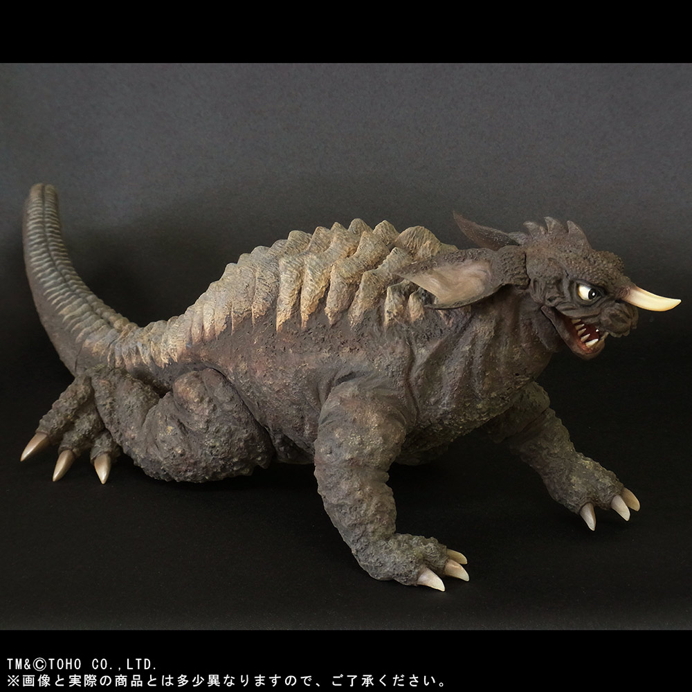 X-Plus Large Monster Series Baragon (1965 Crawling Version) vinyl figure - high angle.