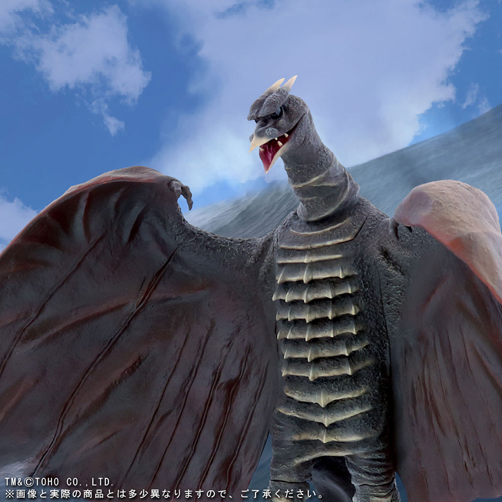 X-Plus Large Monster Series Rodan 1956 vinyl figure - composited with sky background.