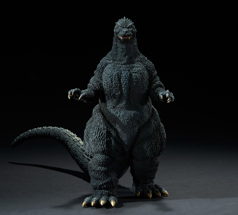 Front view of the X-Plus Yuji Sakai Godzilla 1989 Osaka Closed Mouth Version vinyl figure.
