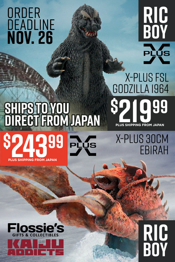 X-Plus Godzilla 1964 and Ebirah up for Preorder at Flossie's.