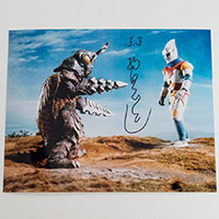 Tsugutoshi Komada as Jet Jaguar - Autographed 'Megalon 1' Photo - December 2018, New York