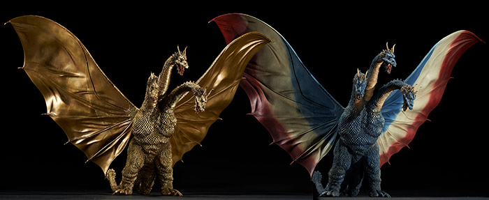 Toho Large Monster Series King Ghidorah 1964 Standard and Ric Exclusive versions vinyl figure by X-Plus.