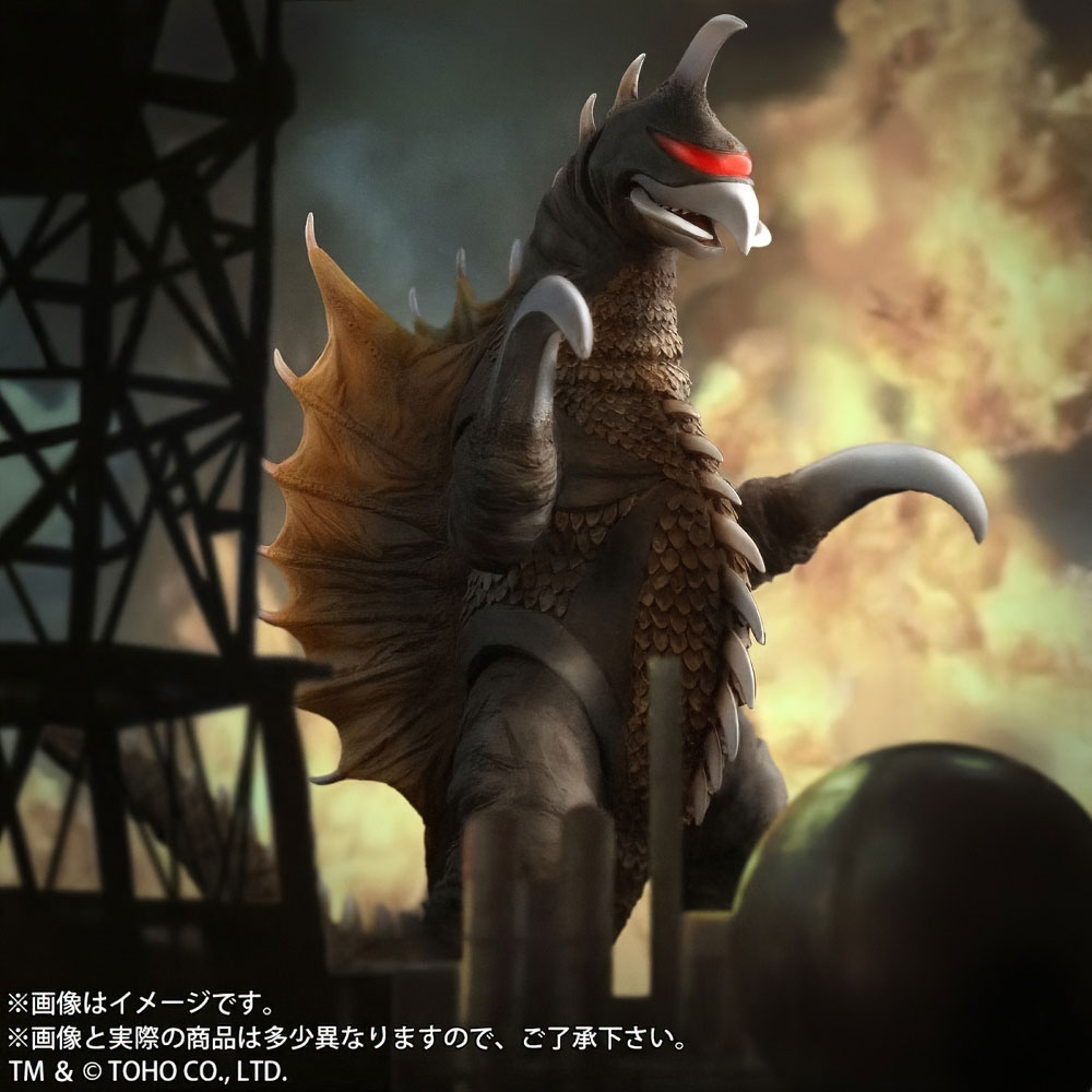 Stylized movie like composite of the Toho Large Monster Series Gigan (1972) Nighttime Lightup Version vinyl figure by X-Plus.