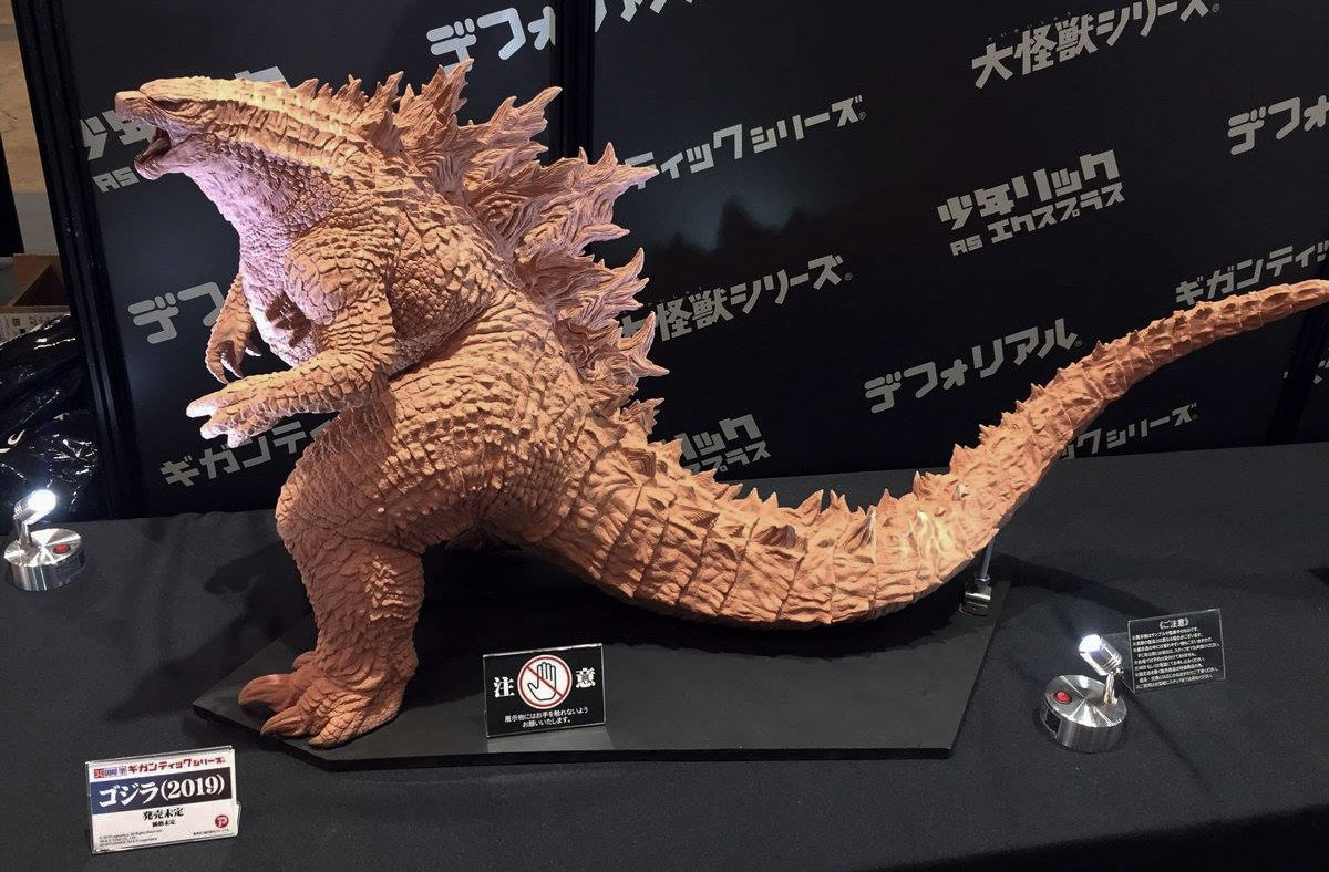 An early, unpainted prototype of the Gigantic Series Godzilla 2019 by X-Plus.
