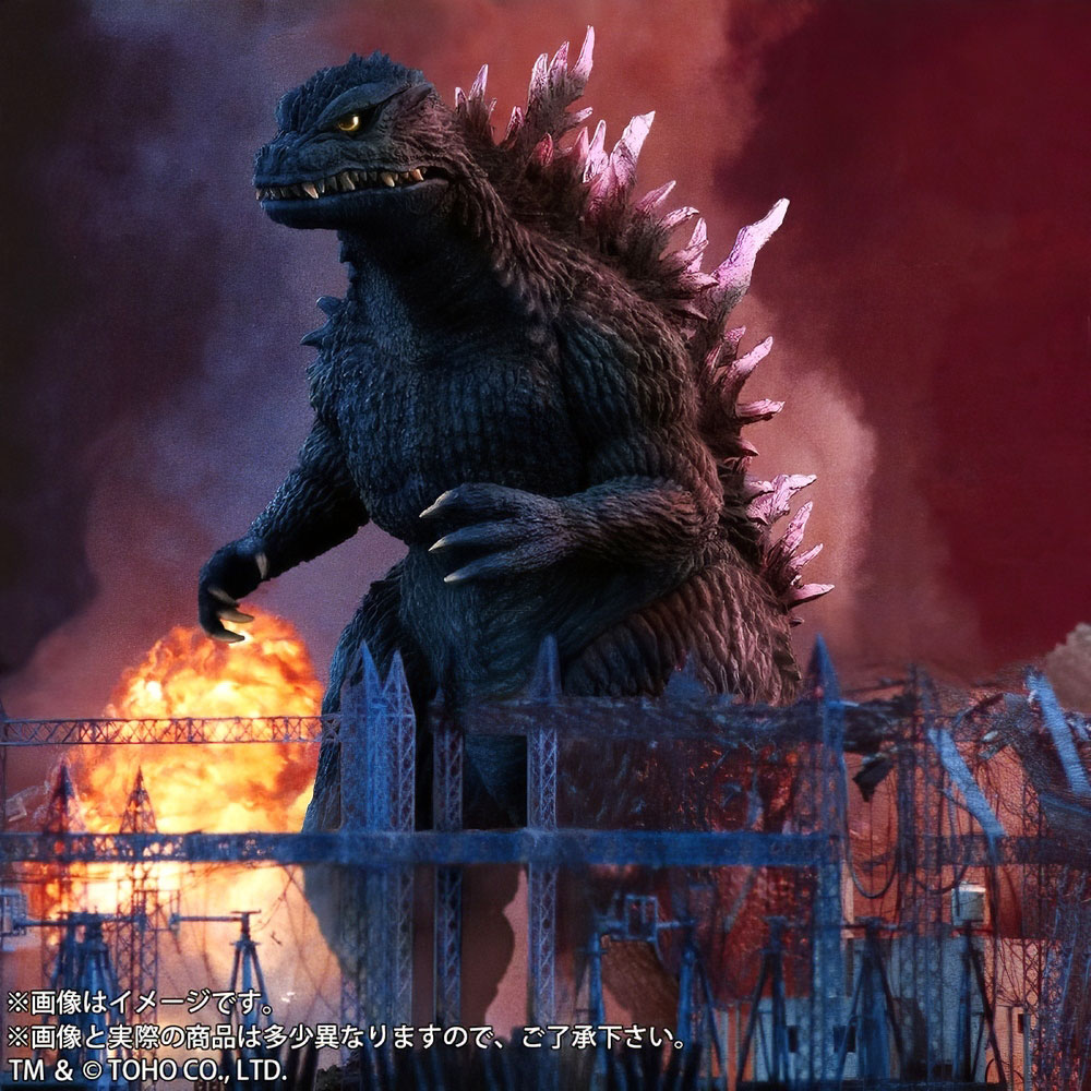 Stylized movie-like composite of X-Plus Large Monster Series Godzilla 1999 vinyl figure.