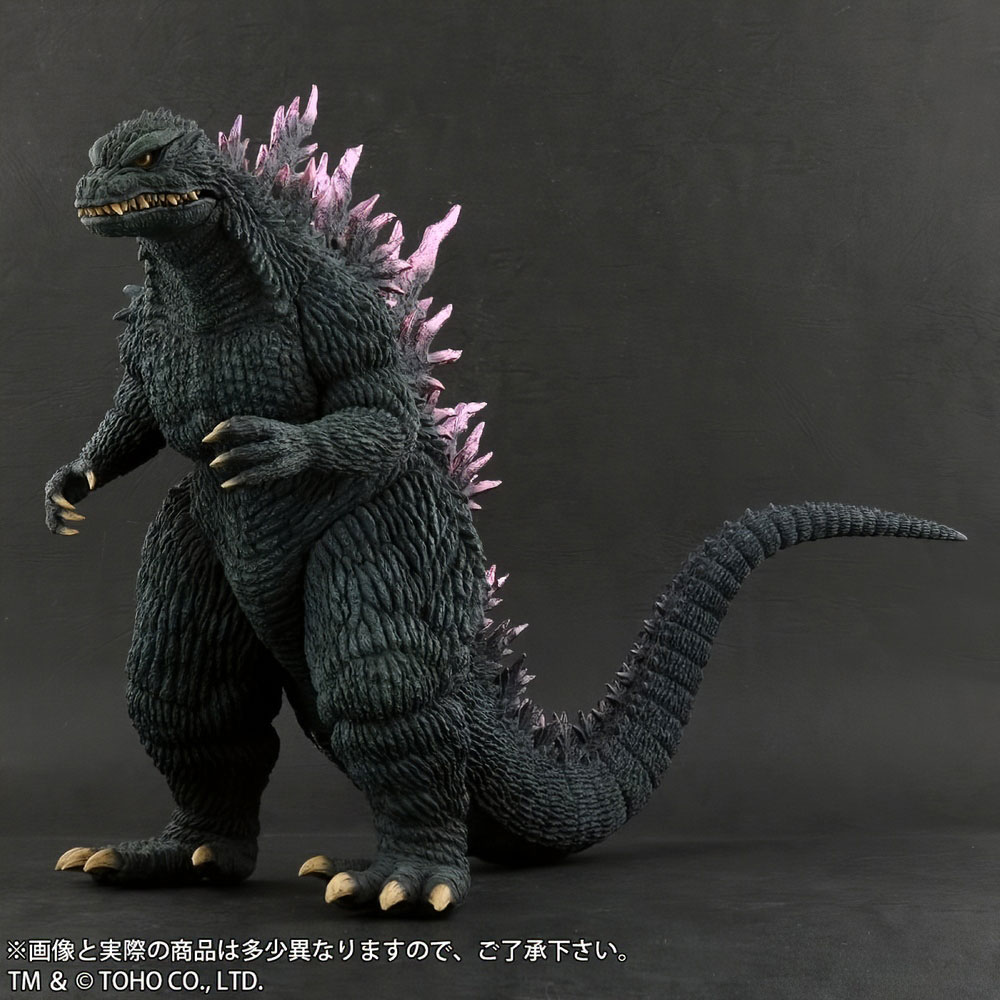 Front left front view of X-Plus Large Monster Series Godzilla 1999 vinyl figure.