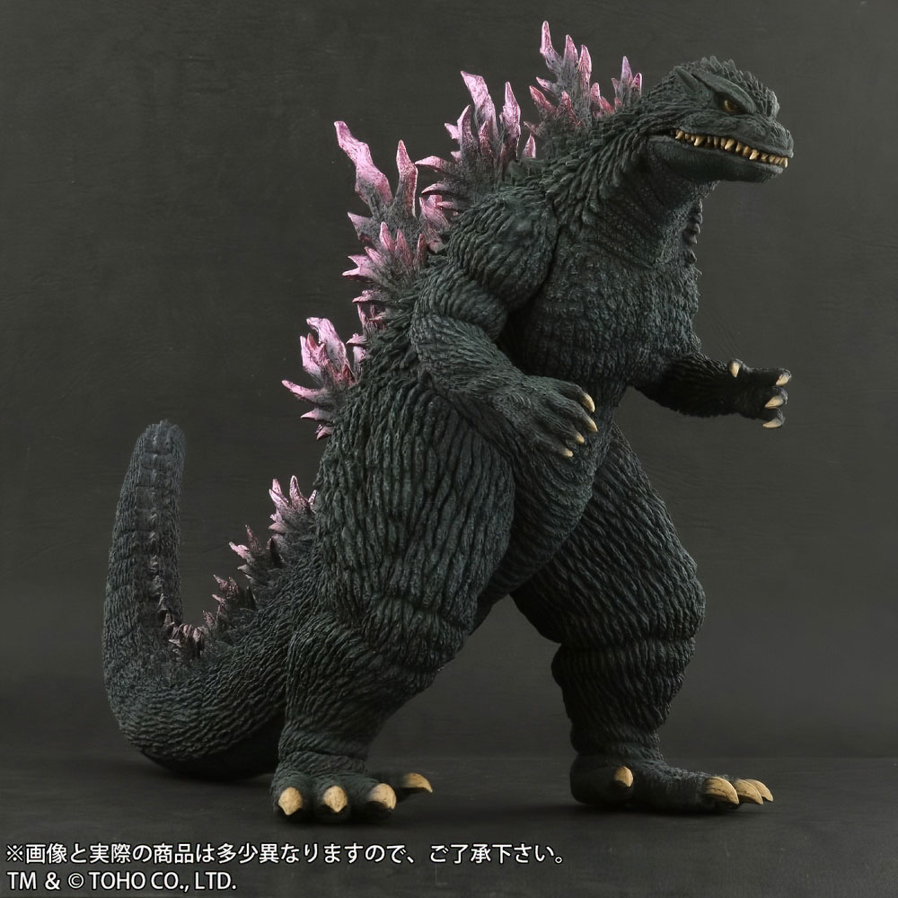 Front left view of X-Plus Large Monster Series Godzilla 1999 vinyl figure.