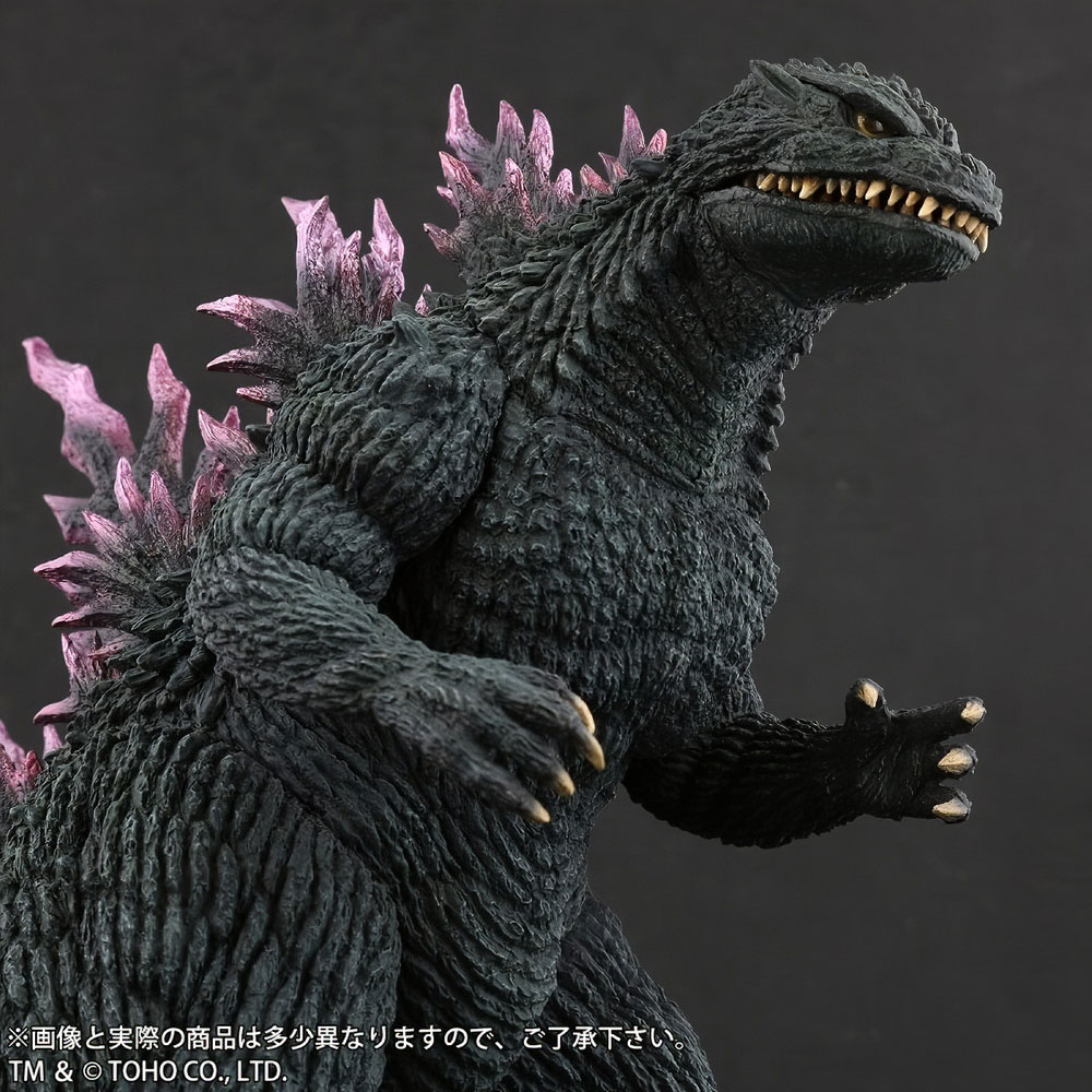 Close right front view of X-Plus Large Monster Series Godzilla 1999 vinyl figure.