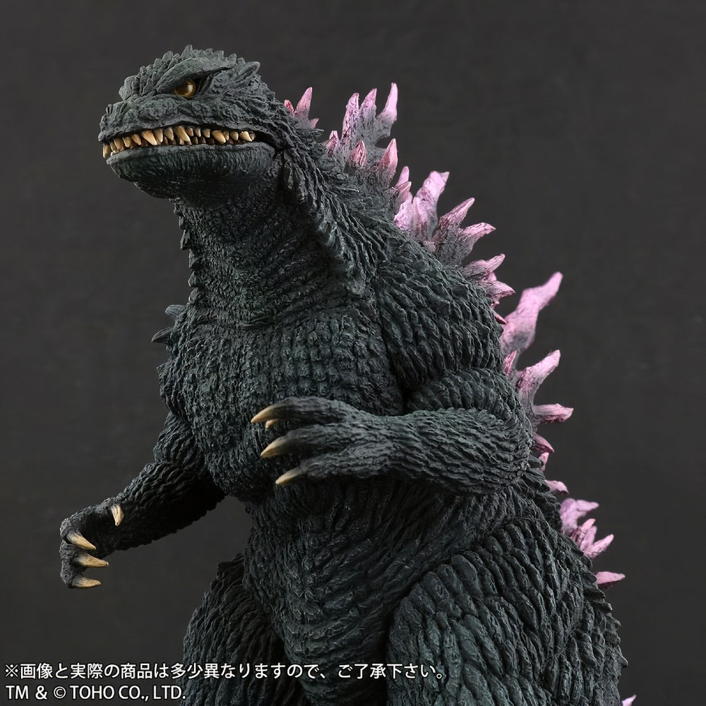 Close left front view of X-Plus Large Monster Series Godzilla 1999 vinyl figure.