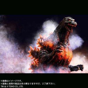 Stylized view of the 30cm Series Yuji Sakai Modeling Collection Godzilla 1995 vinyl figure by X-Plus.