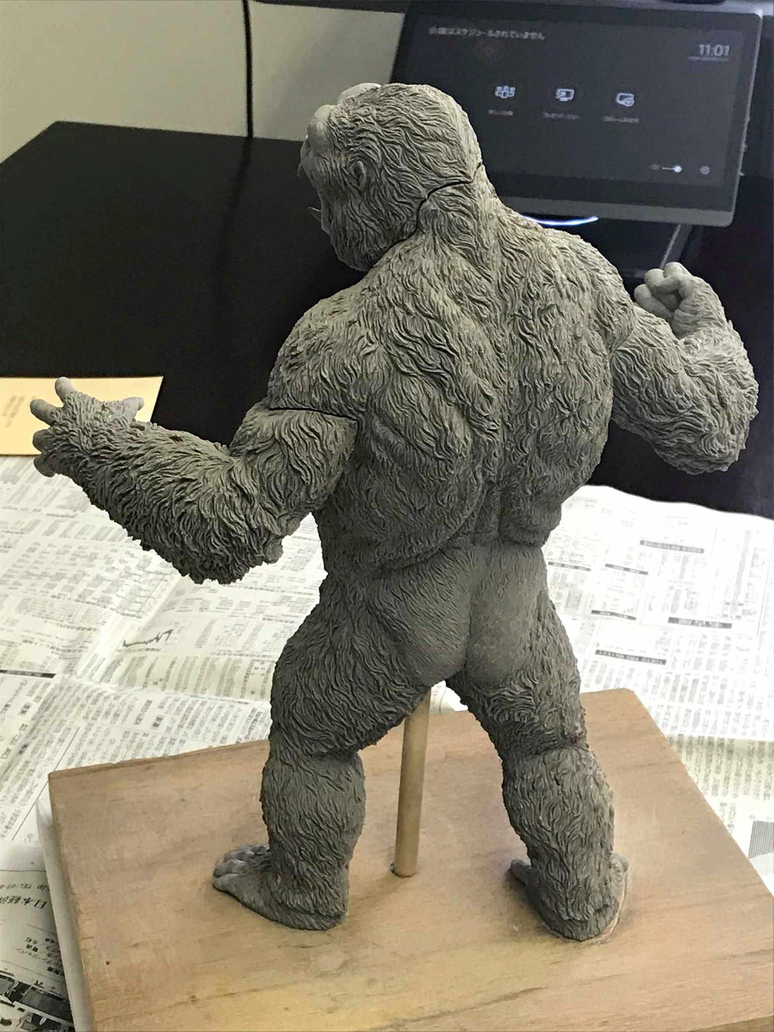 High rear view of the Star Ace Kong V2 in the progress of being sculpted.