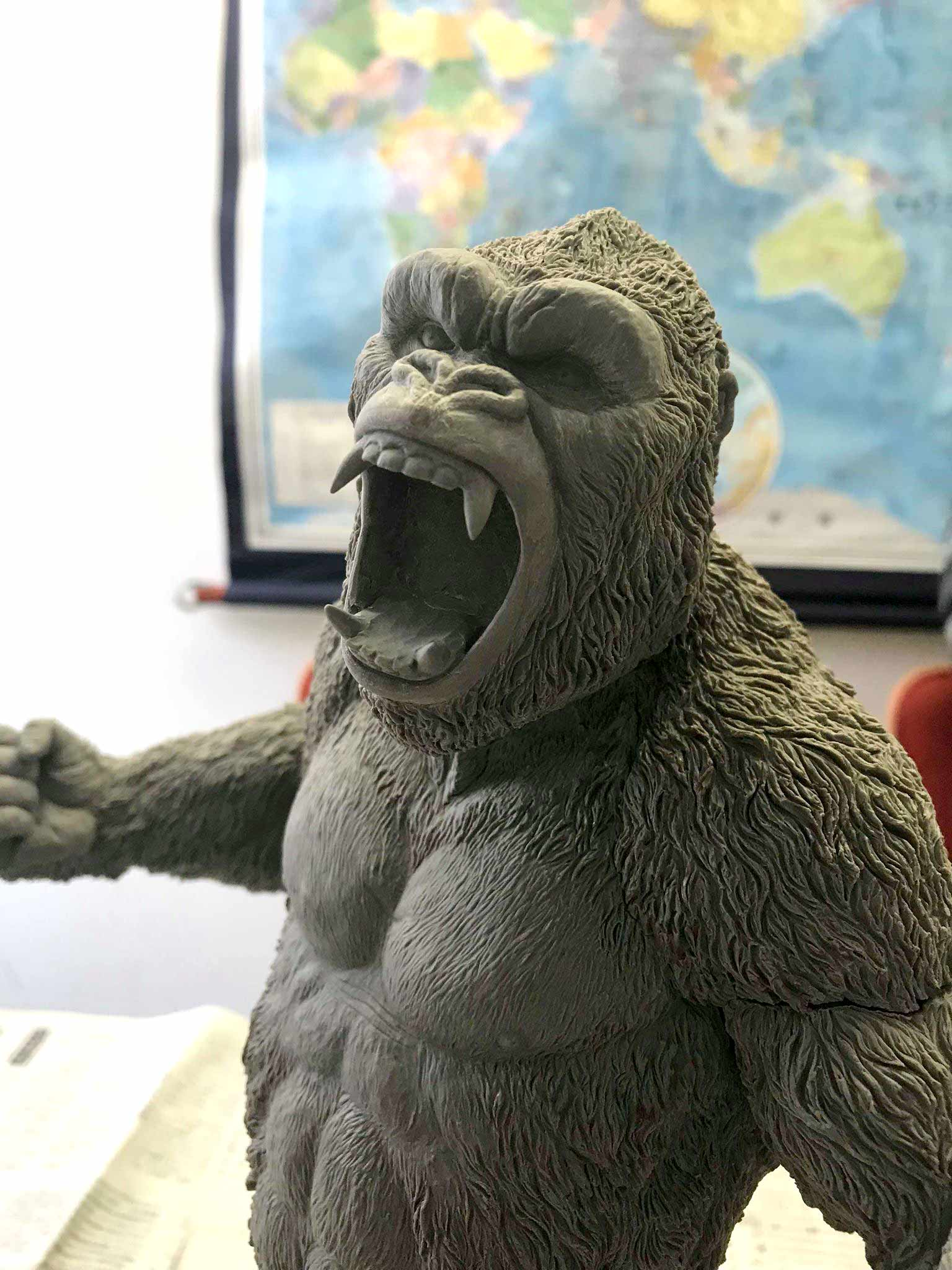 Close-up of the Star Ace Kong V2 in the progress of being sculpted.