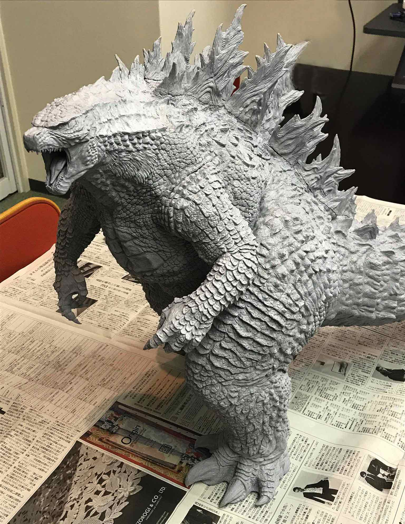 Higher resolution shot of the unpainted X-Plus Godzilla 2019 prototype.