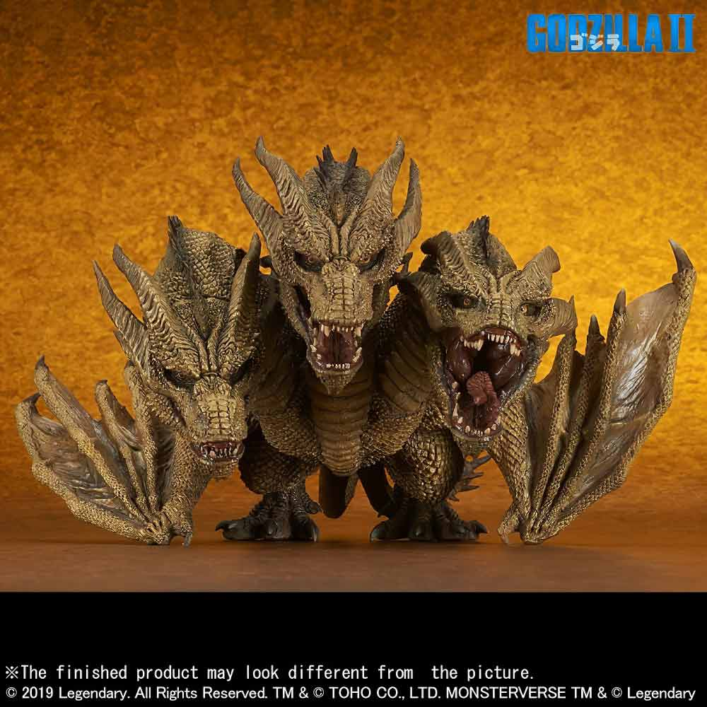 Front View of the Deforeal Series King Ghidorah 2019 vinyl figure by X-Plus.