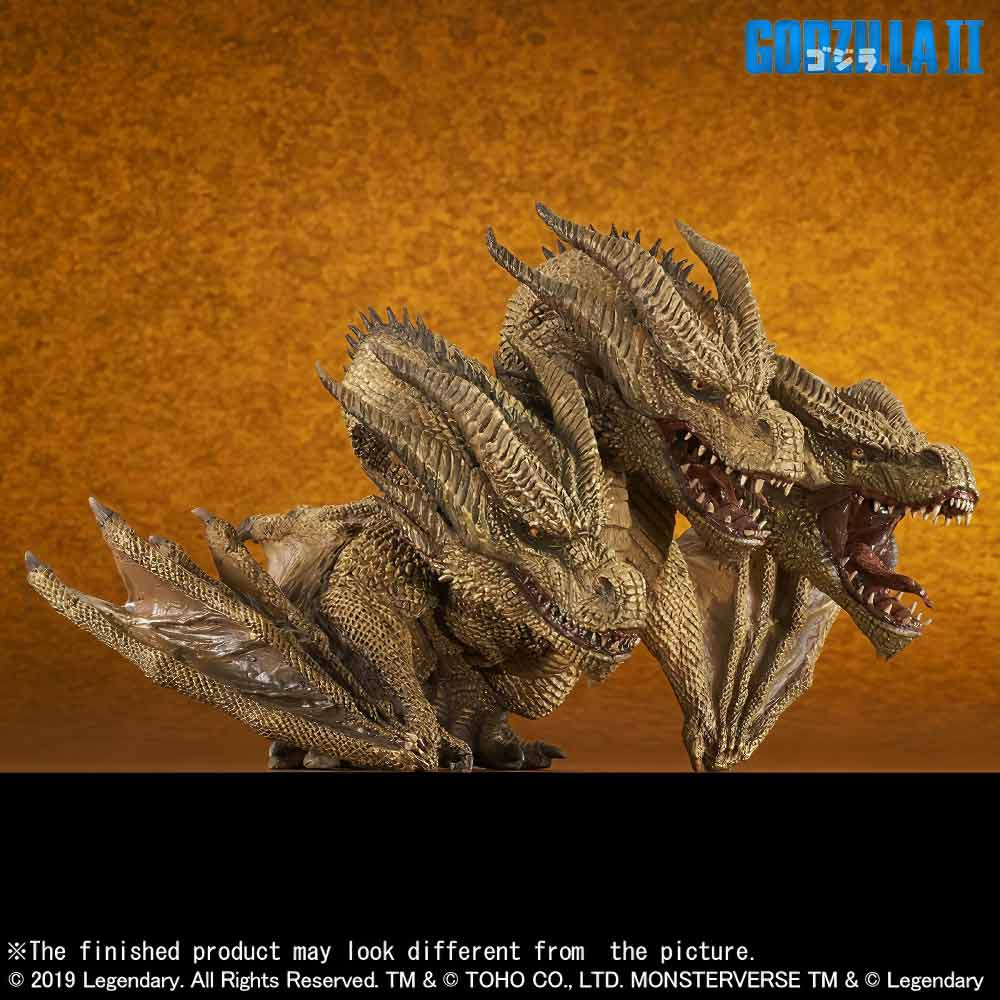 Right Front View of the Deforeal Series King Ghidorah 2019 vinyl figure by X-Plus.