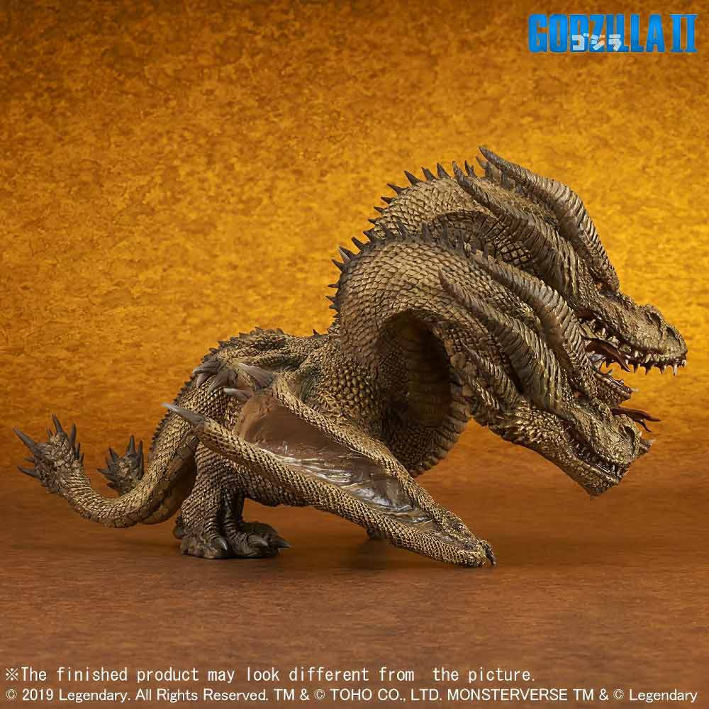 Right Side View of the Deforeal Series King Ghidorah 2019 vinyl figure by X-Plus.