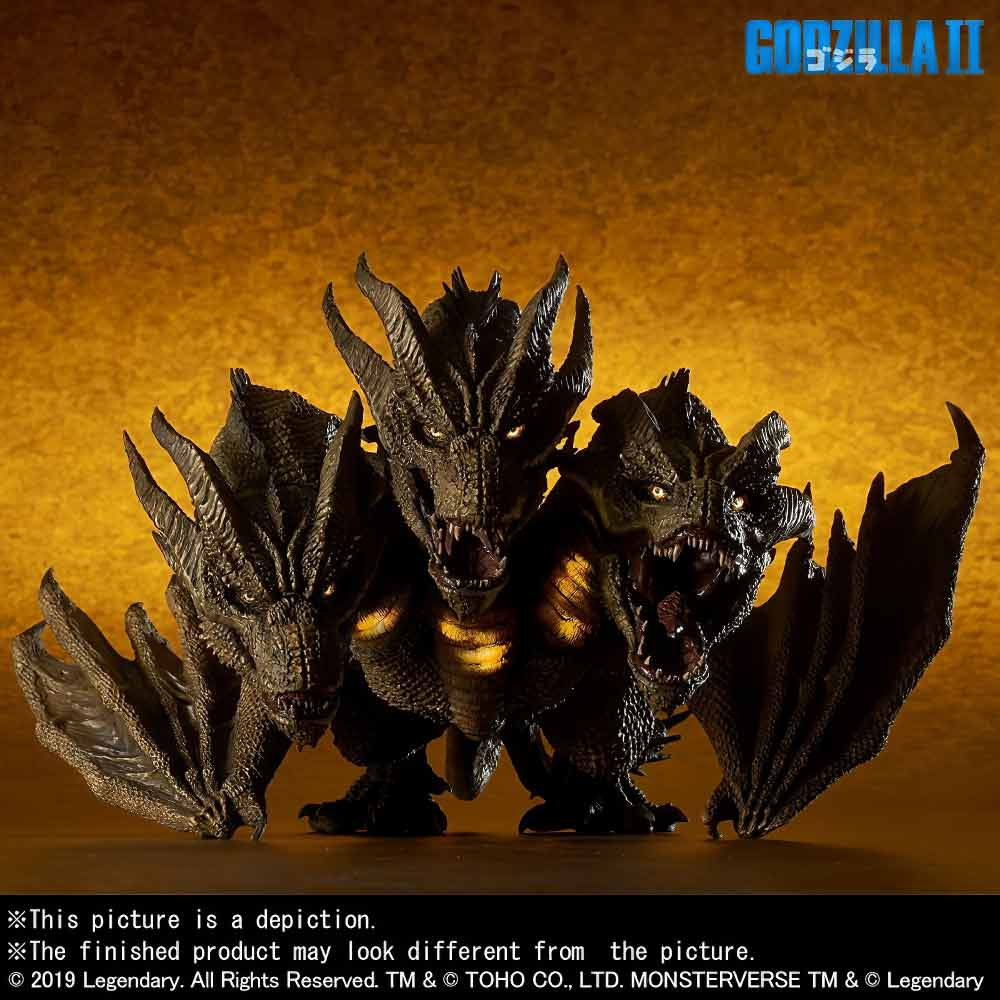Front View of the Ric Exclusive Deforeal Series King Ghidorah 2019 vinyl figure by X-Plus.