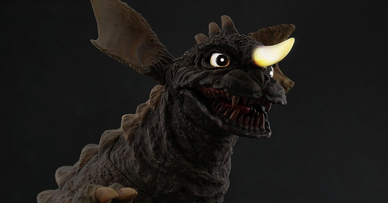 Light-up eyes and horn of the Large Monster Series Baragon 1965 vinyl figure.