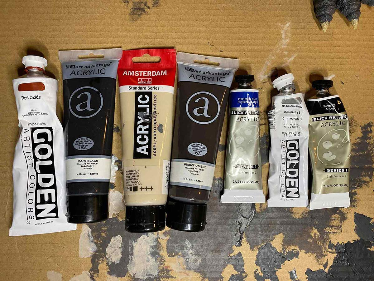 The paints used by David Eric Dopko to repaint the X-Plus Godzilla 1962.