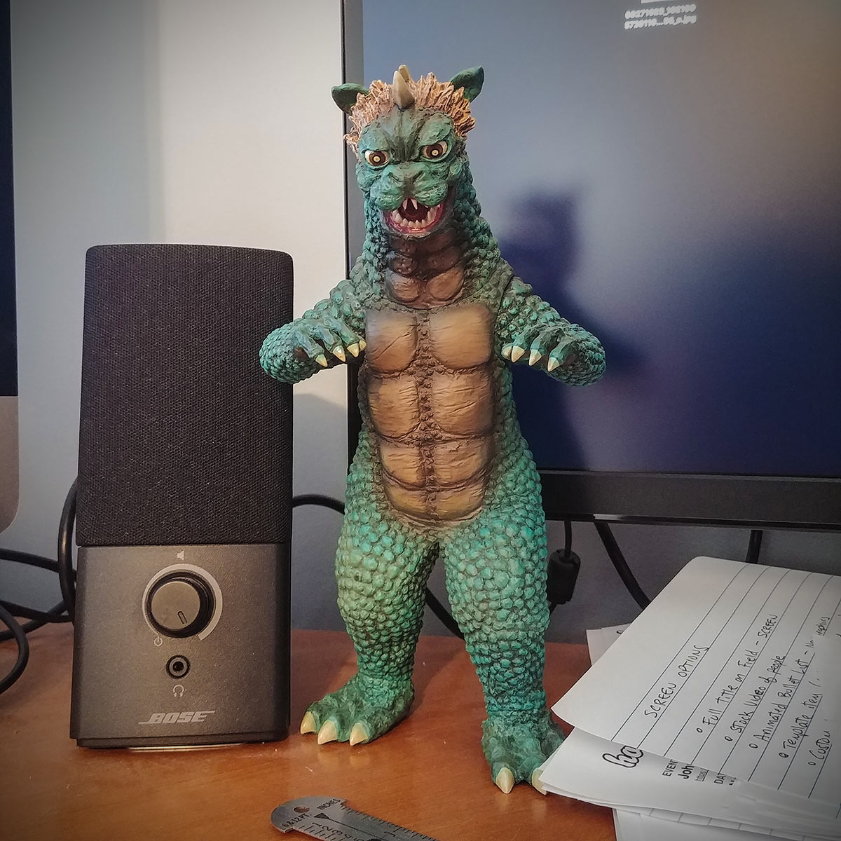 X-Plus Large Monster Series Gabara vinyl figure on my desk.