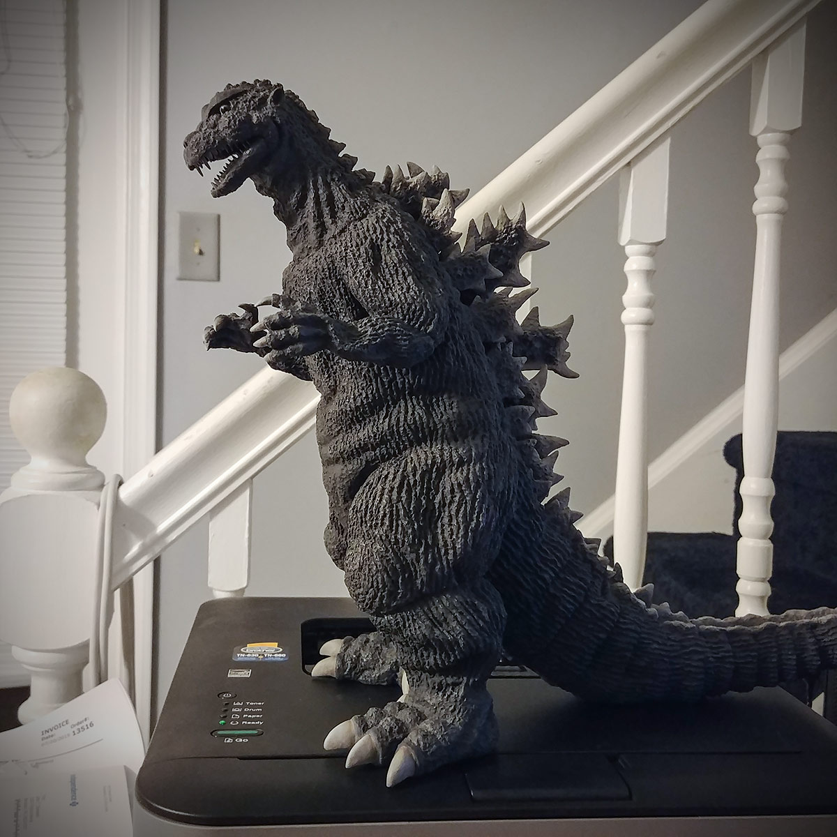 X-Plus 30cm Series Godzilla 1954 vinyl figure on my desk.