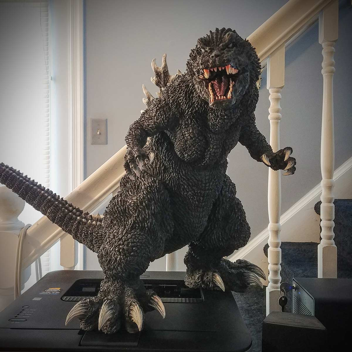 The X-Plus Gigantic Series Godzilla 2001 vinyl figure on my desk.